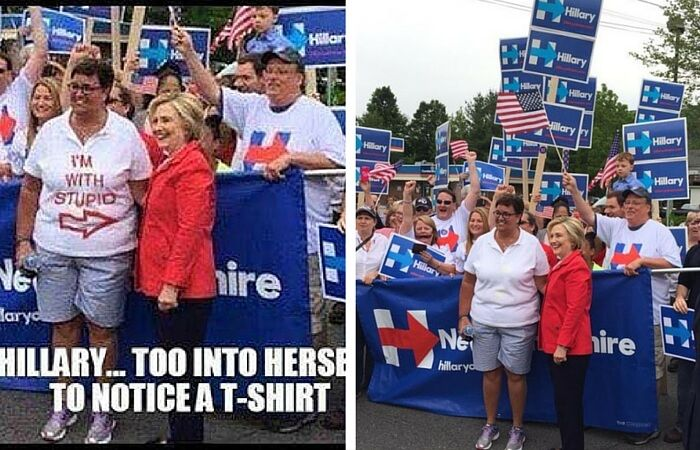 Hillary Clinton With Unknown Woman Wearing a Shirt with Awful ...