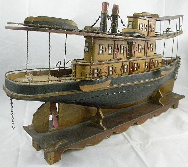 "Lot: 224: 19th Century Folk Art  25"" Boat Model Hudson River, Lot Number: 0224, Starting Bid: $350, Auctioneer: JMW Auction Service, Auction: Good Ephemera * Art * Coins * & Estate Goods, Date: April 7th, 2012 CEST"