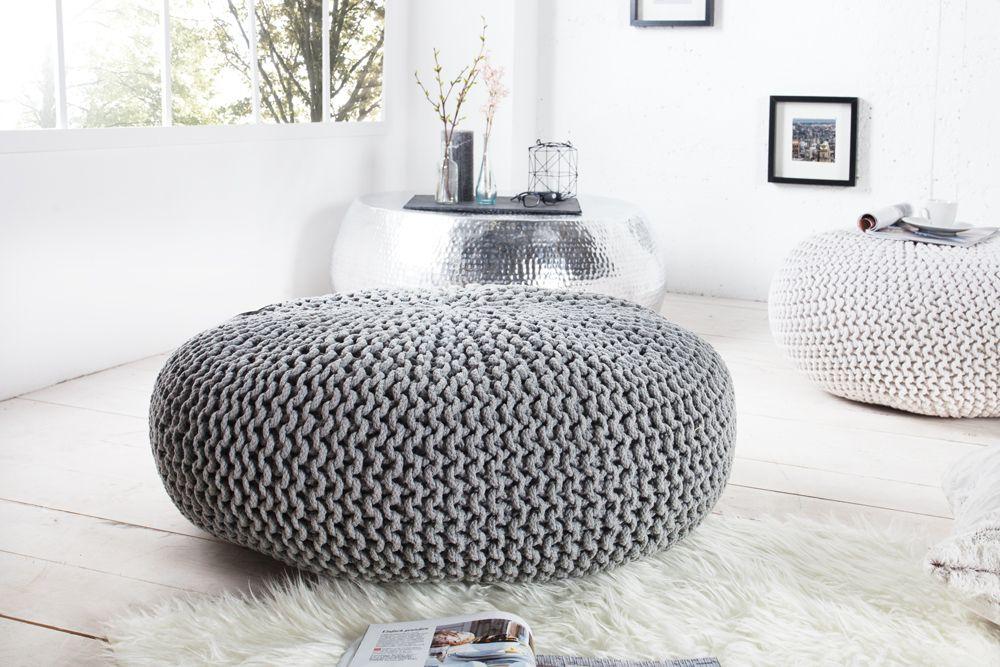 Design Strick Pouf LEEDS XXL grau 70cm Hocker Baumwolle in ...