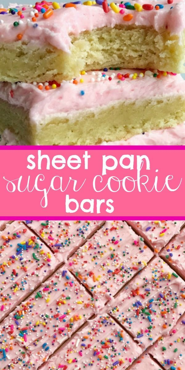 Sugar Cookie Bars Cookie Bars | Sheet Pan Cookie Bars | Soft, thick sugar cookie bars topped with a creamy and sweet frosting and baked in a sheet pan. Perfect for a large crowd, potluck, picnic, or a party.