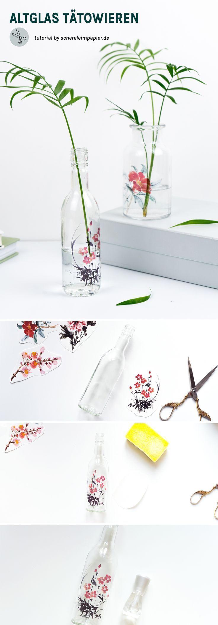 Easy Upcycling Idee mit Altglas: Tätowierte Vasen gestalten #upcyclingideen