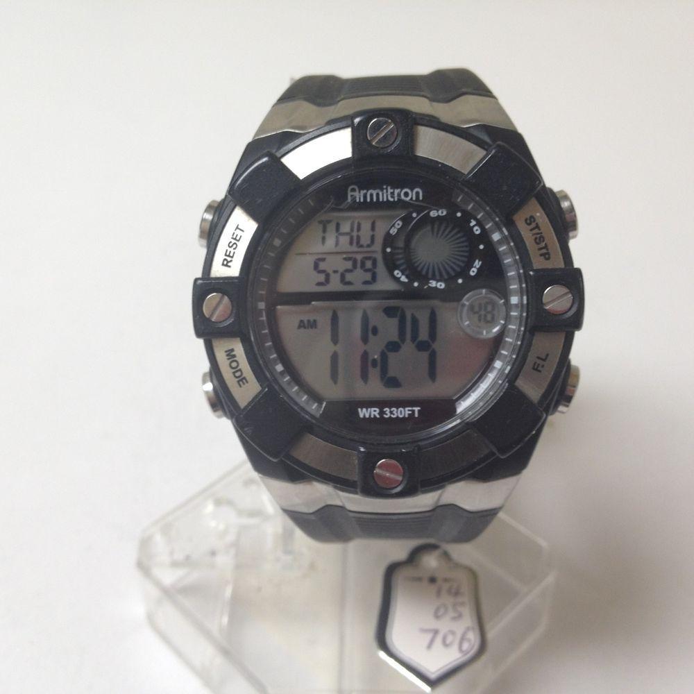 Stunning Armitron Mens LCD Alarm Chronograph Watch Hours