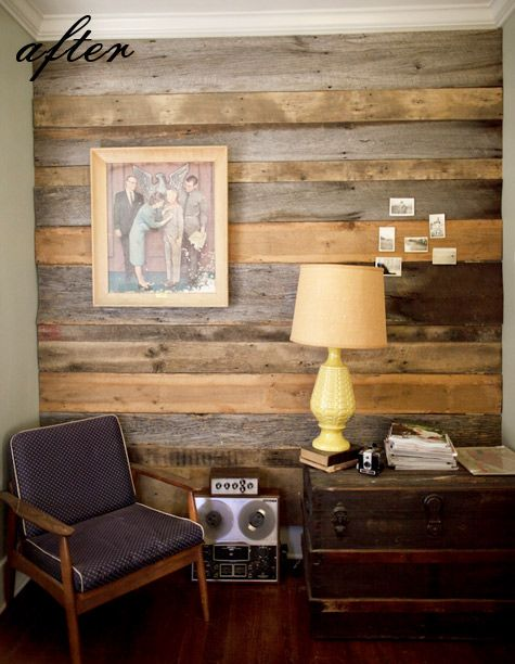 Reclaimed barn wood wall installed by Austin Gros, a photographer in  Nashville. Design Sponge - Reclaimed Barn Wood Wall Installed By Austin Gros, A Photographer
