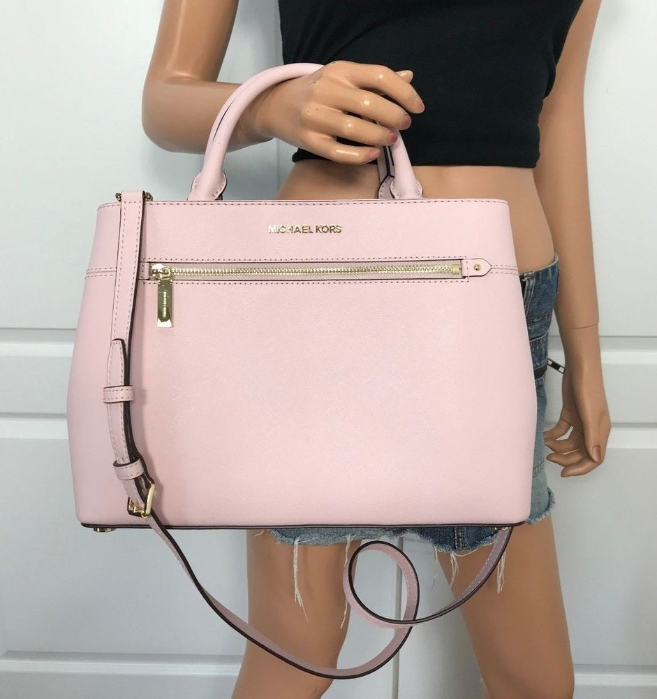 8cda8af910a0 NWT MICHAEL KORS BAG HAILEE MEDIUM LEATHER SATCHEL CROSSBODY PINK BLOSSOM  NEW #MichaelKors #Satchel