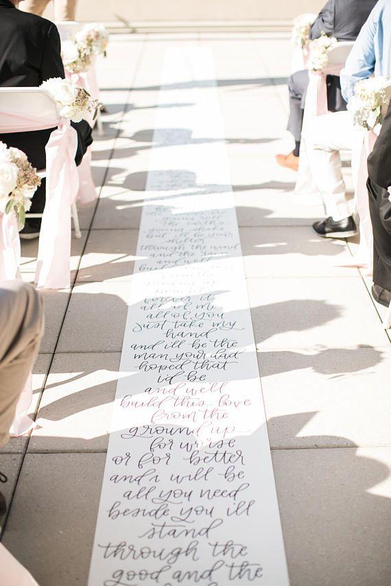Handlettered Aisle Runner - Wedding Aisle Runner - Calligraphy Aisle ...