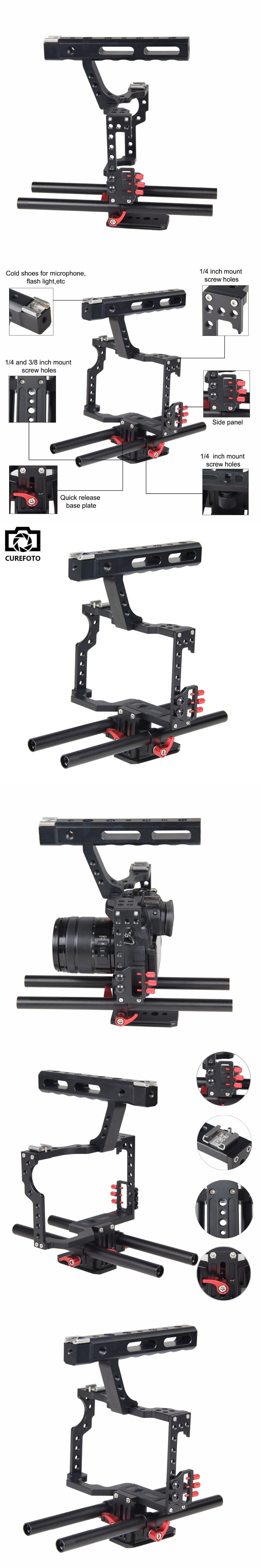 Professional Aluminum DSLR Camera Video Cage With 15mm Rod System Rig For Sony Alpha A7 A7II