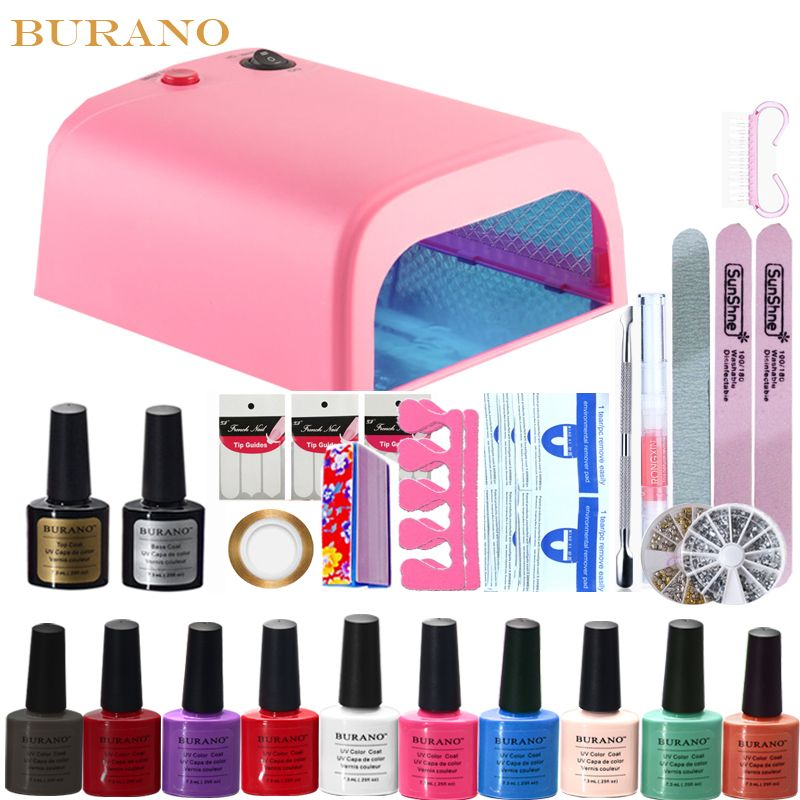 Burano 10 colores polaco ultravioleta del gel 36 w lámpara uv ...