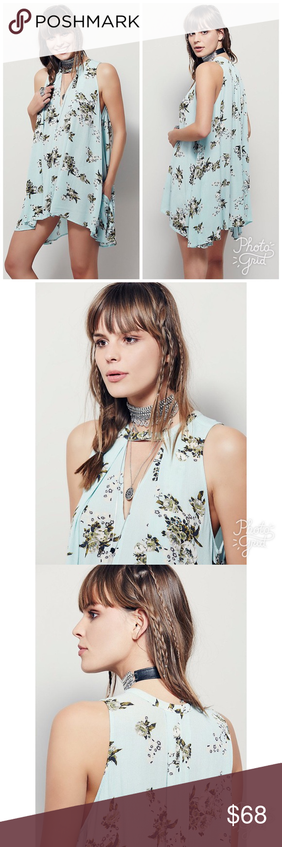 Free People Tree Swing Tunic Dress Free People Retro Tree Swing Sleeveless Tunic Dress in Mint green. Floral printed swing tunic with keyhole opening and button at neckline. Swingy trapeze fit. Size Medium. Never worn. Price firm. NO trades. Free People Dresses
