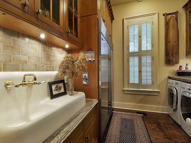 Craftsman Laundry Room With Elements Of Design New Orleans Polished Brass  Wall Mount Kitchen Faucet With Porcelain Lever