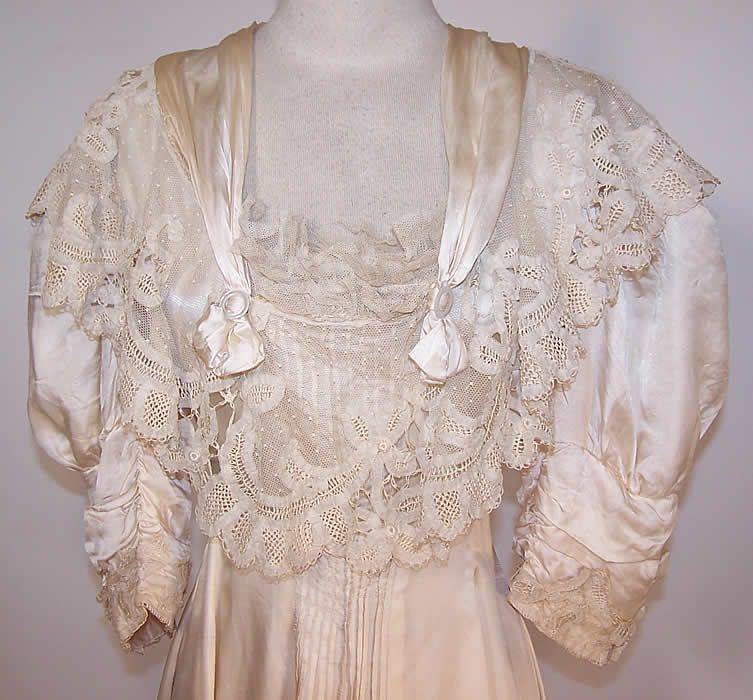 Edwardian Cream Silk Battenburg Tape Lace Wedding Gown Princess ...