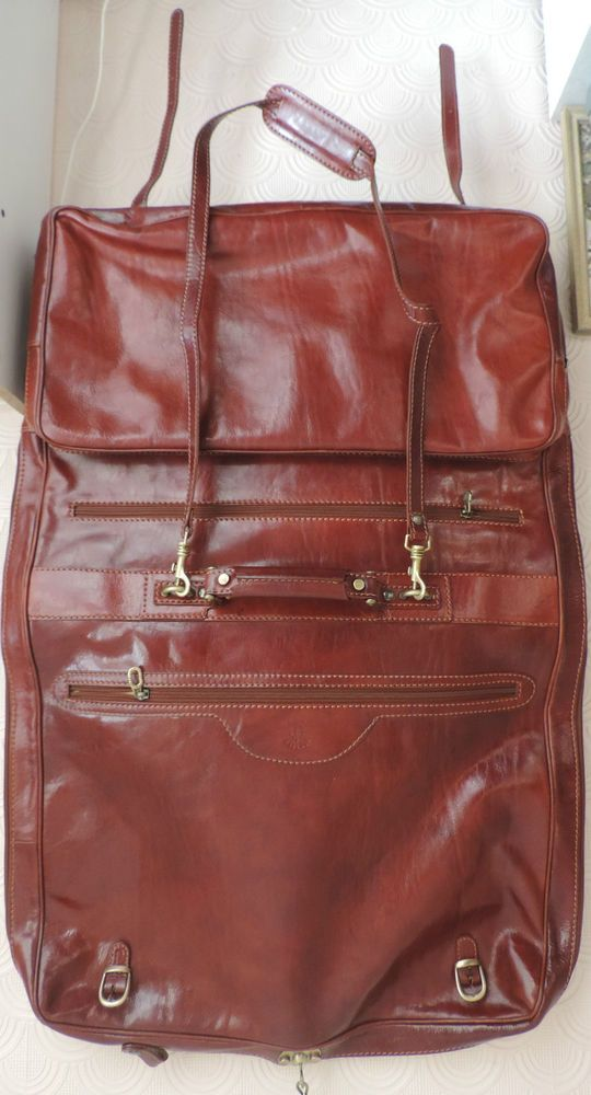 Italian Firenze  Brown Leather 3 Suit Garment Travel Business Weekend Strap Bag