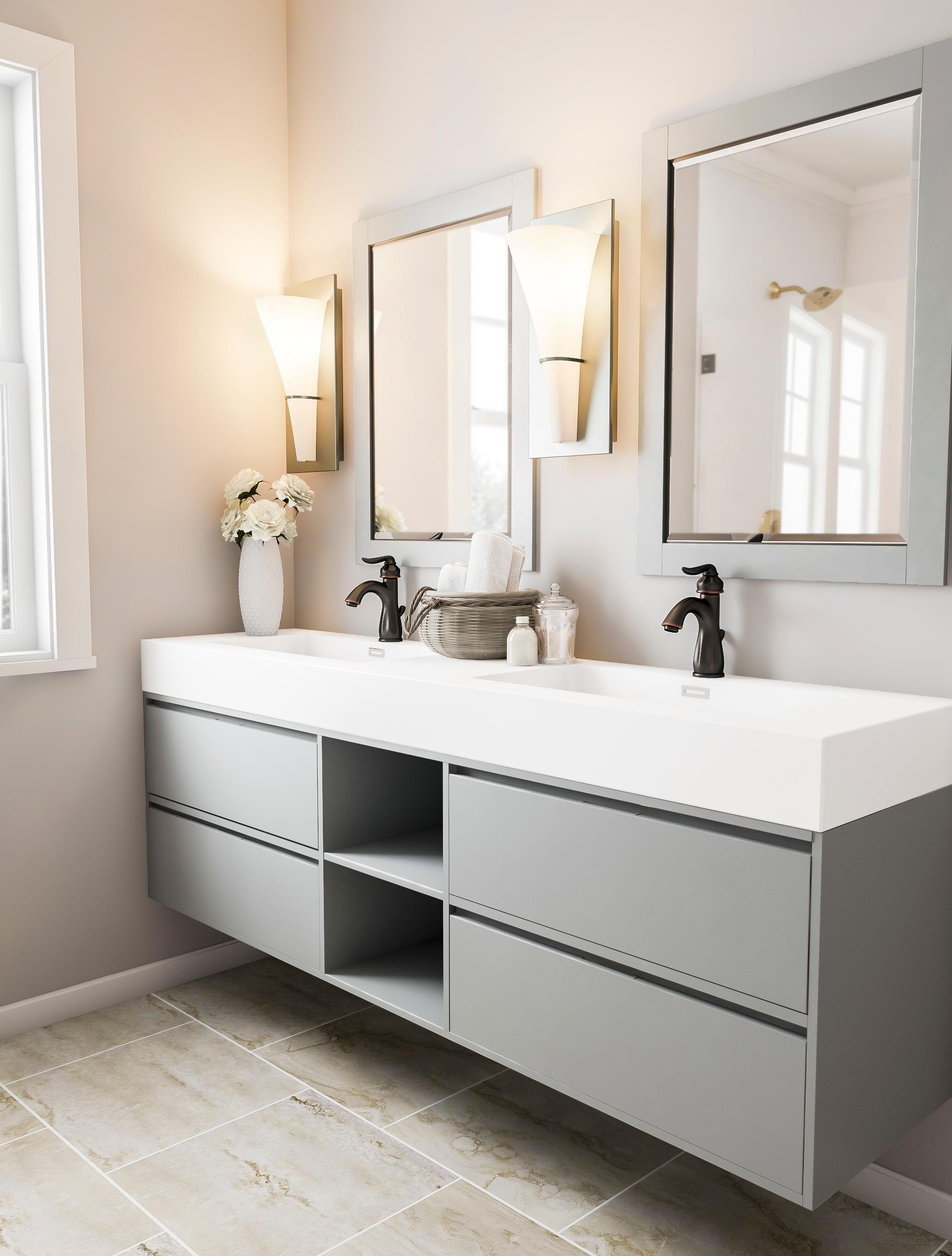 Floating Sage Dual Bathroom Sinks Floating Bathroom Vanity Luxury Bathroom Vanities Open Bathroom [ 2400 x 1820 Pixel ]