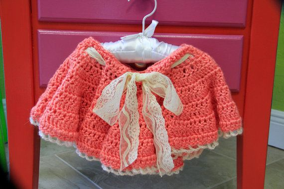 Gorgeous Coral colored crochet skirt with lace by Le Demoiselle, $38.00