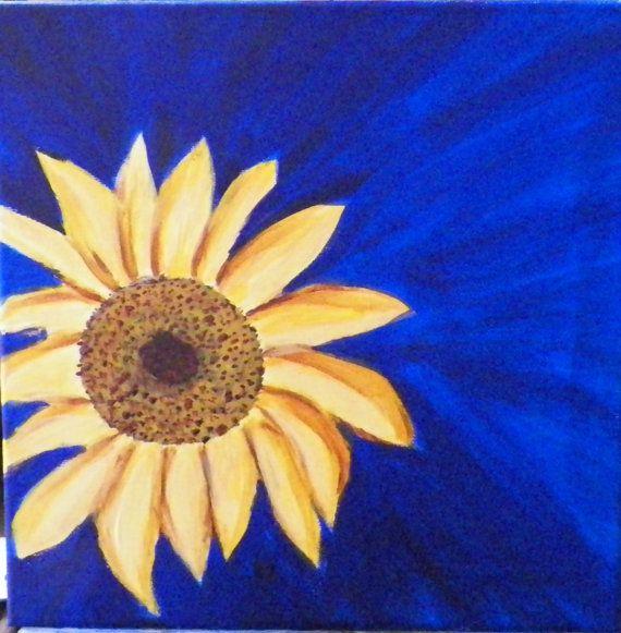 Sunflower Original 12 square Original Acrylic by ArtForComfort, $75.00