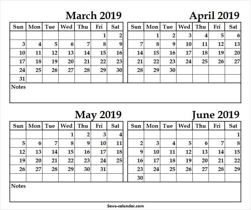 Black And White Calendar 2019 March April May June June 2019