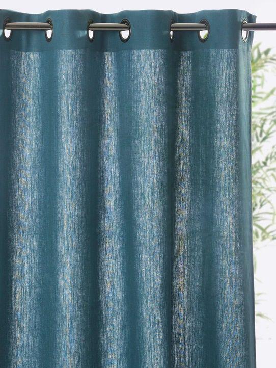 Rideau Lin à Oeillets Bleu Paoncraiegris Ardoisegris Perlelin