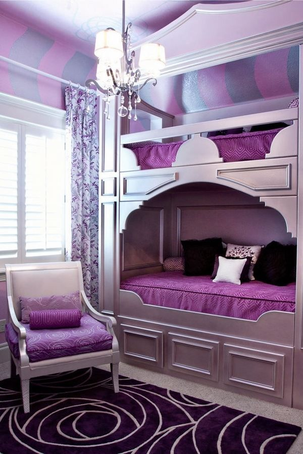 Creative Bedroom Decorating Ideas Teenage Girls Super Cool Bunk Beds Purple Shades Wall Stripes Bed For Girls Room Bunk Beds For Girls Room Girls Bunk Beds