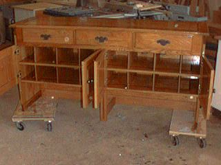 This was a custom shoe cabinet.  It is made from white oak.