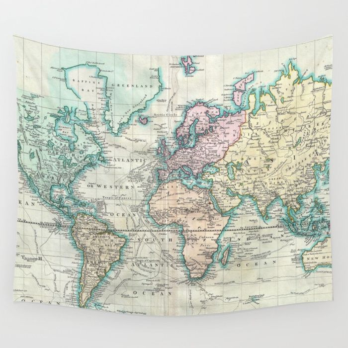 Buy Vintage Map Of The World Wall Tapestry By Bravuramedia - Buy vintage maps