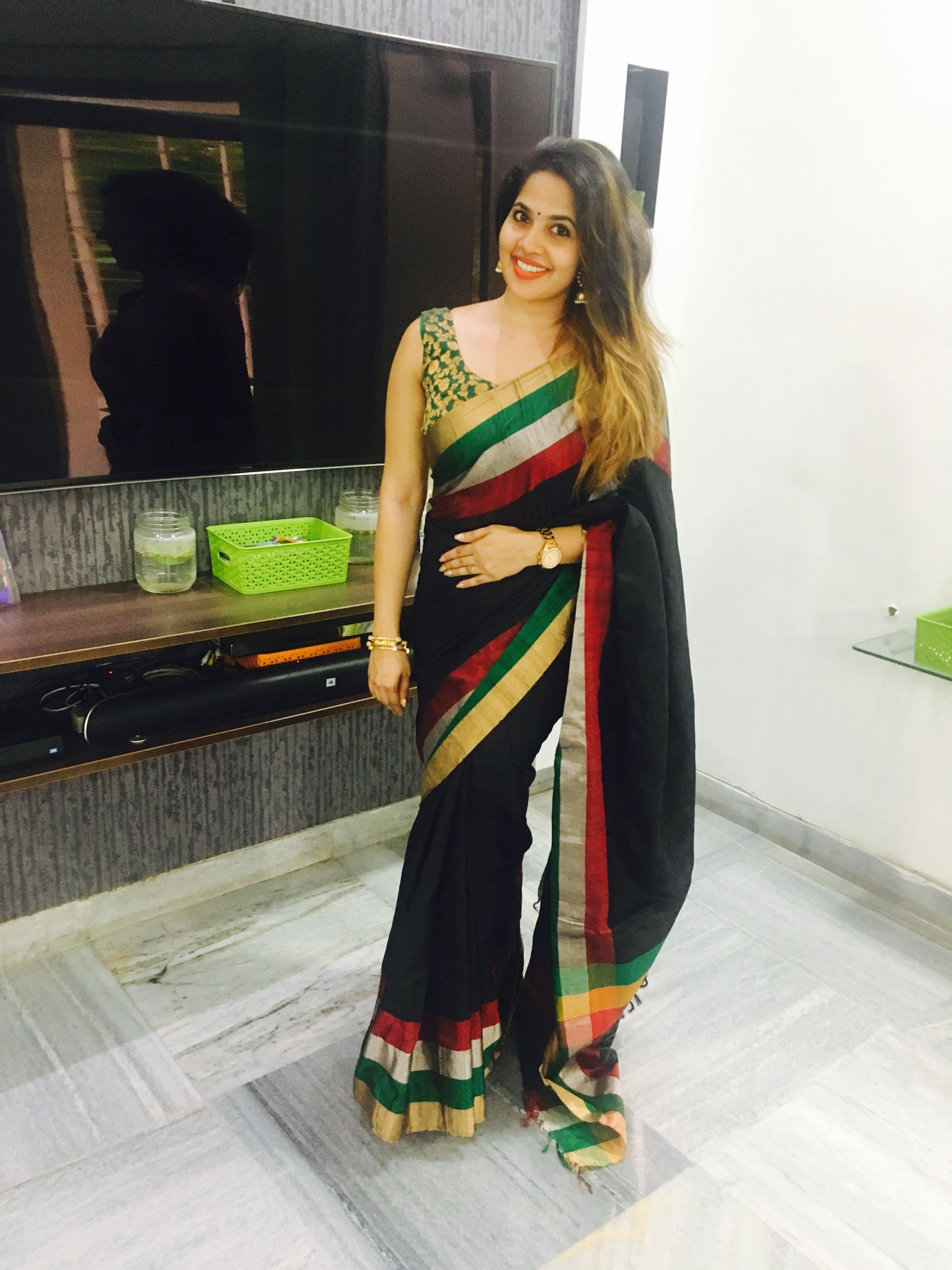 1864fea09864b Actress Devika Madhavan in black jute silk saree