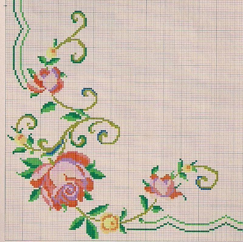 Gráfico De Rosas Em Ponto Cruz Para Toalhas Ponto Cruz Vintage Ponto Cruz Grátis Padrões De Tapete De Crochê
