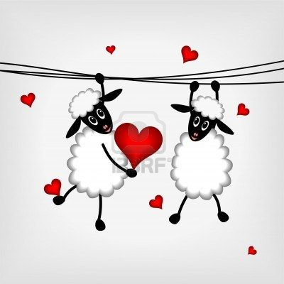 Two Sheep Hanging On Washing Line And Holdin Red Heart Vector Valentines Cards Funniest Valentines Cards Sheep Art