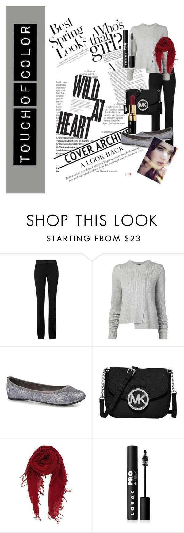 """""""Touch Of Color"""" by youonlylivefabulously ❤ liked on Polyvore featuring Balmain, H&M, Victoria Beckham, Proenza Schouler, MICHAEL Michael Kors, LORAC, Bobbi Brown Cosmetics and touchofcolor"""