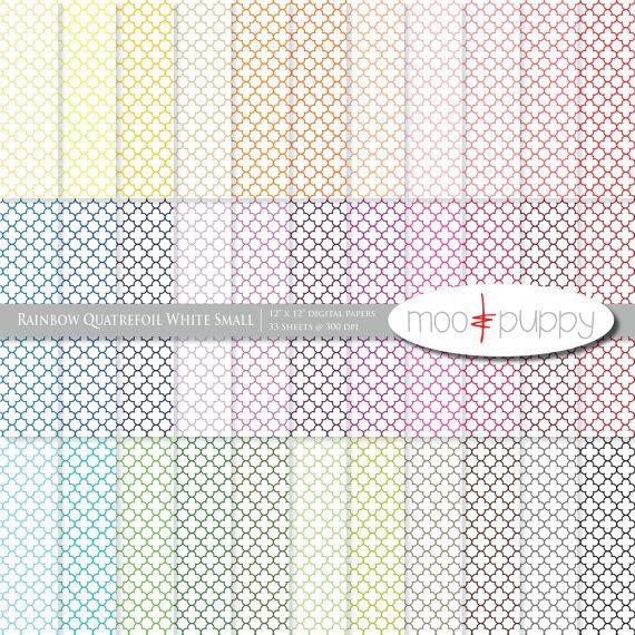 Digital Scrapbook Paper Pack    Rainbow Quatrefoil by mooandpuppy  https://www.etsy.com/listing/153457632/digital-scrapbook-paper-pack-rainbow?ref=shop_home_active_17