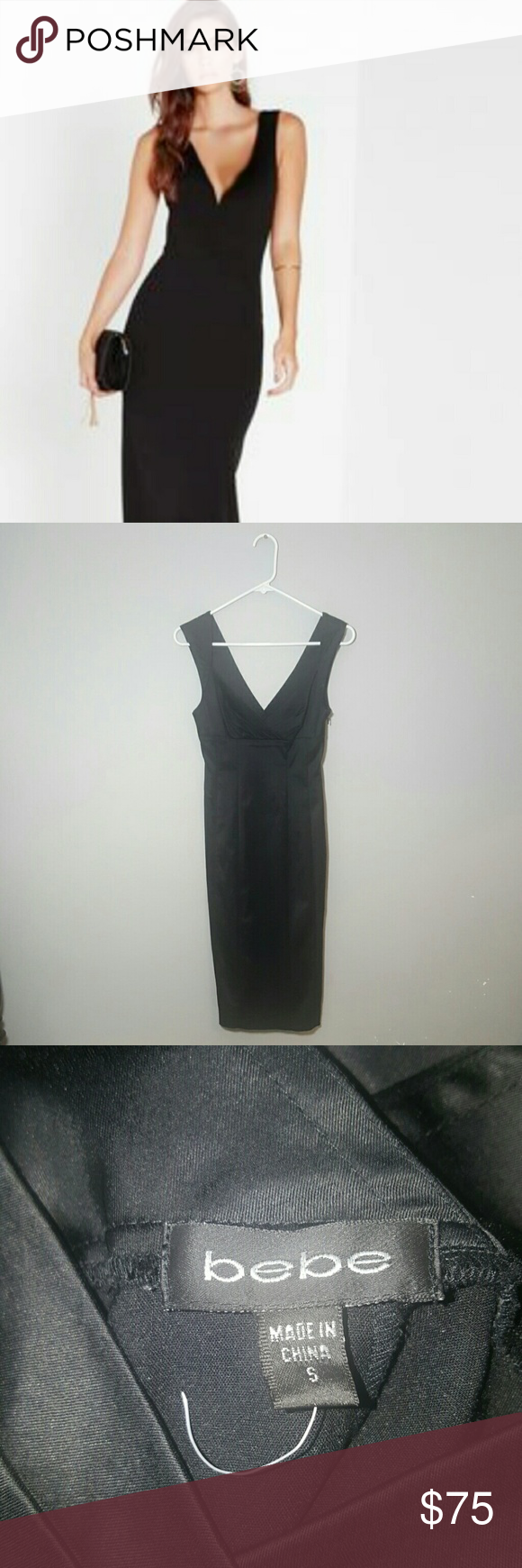 Bebe classy elegant black satin midi bodycon dress Bebe size Small black stretchy satin, midi dress is sleeveless with a sexy V cut, back slit and side hidden zipper! This dress is sure to turn heads!!   Great for a special occasion or holiday parties :) bebe Dresses Midi