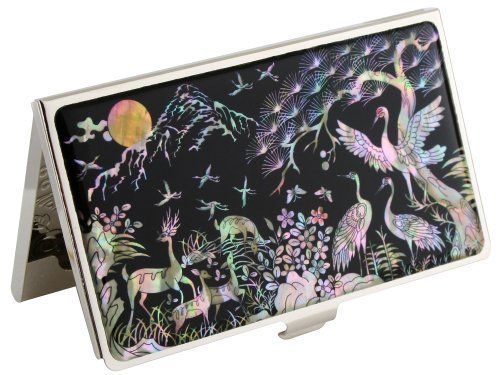 Mother Of Pearl Deer Crane Design Metal Stainless Steel Business Credit Name Id Card Holder Case