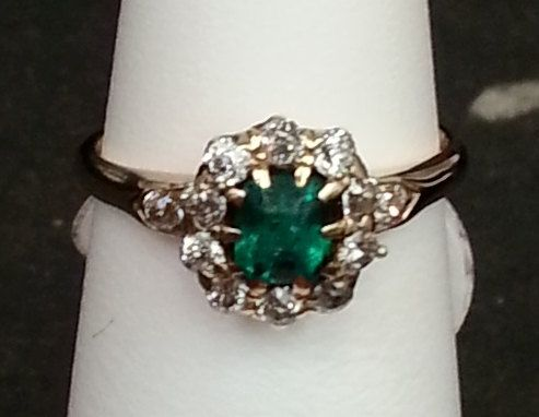 Emerald and Diamond 14kt Yellow Gold Ring by AnnsAntiques on Etsy, $495.00