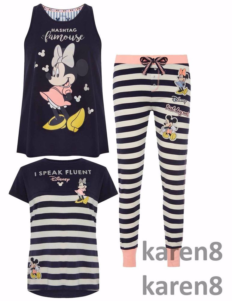 Primark Ladies MICKEY AND MINNIE MOUSE Pyjamas Leggings Womens Pajamas 9321d4114