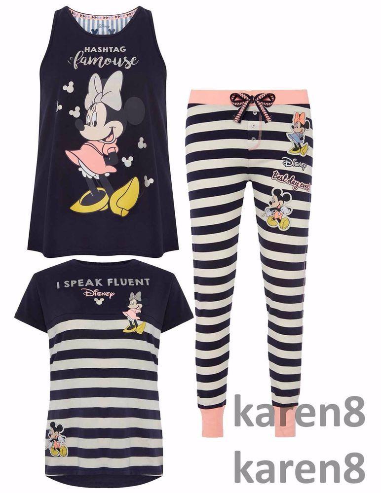 Primark Ladies MICKEY AND MINNIE MOUSE Pyjamas Womens Pajamas ...