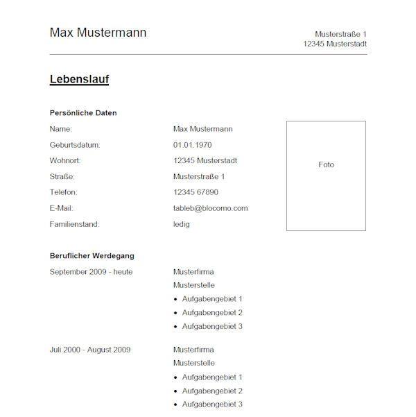 Classic CV - Klassische Lebenslauf-Vorlage. | Lebenslauf Muster ...
