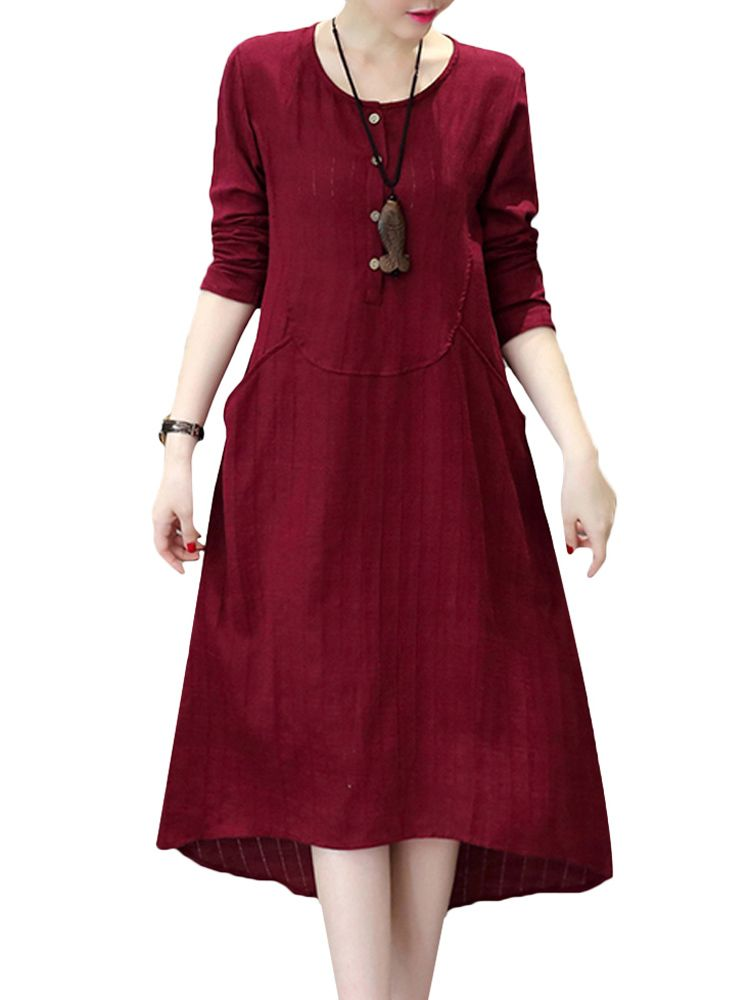 Sale 27% (27.28$) - Vintage Women Pure Color O-Neck Long Sleeve Loose Dress