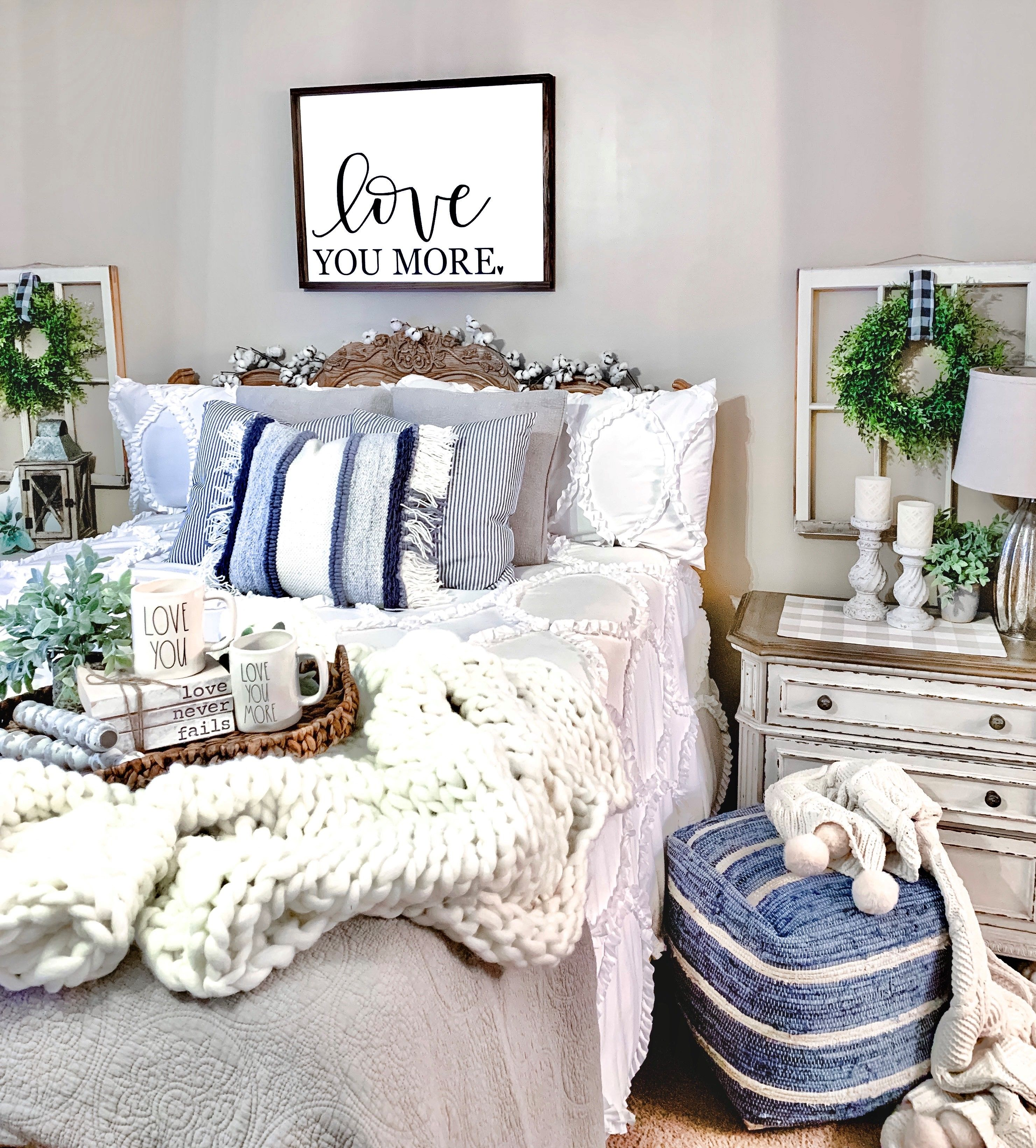 We Re Bringing You Blue Accents And Natural Texture For Your Bedroom Decor Inspiration Farm To Table Crea In 2020 Kirkland Home Decor Blue Decor Trending Decor