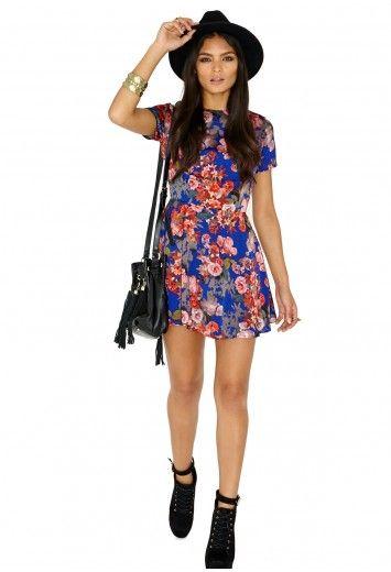 Mila Autumn Flower Skater Mini Dress In Cobalt - Dresses - Skater Dresses - Missguided