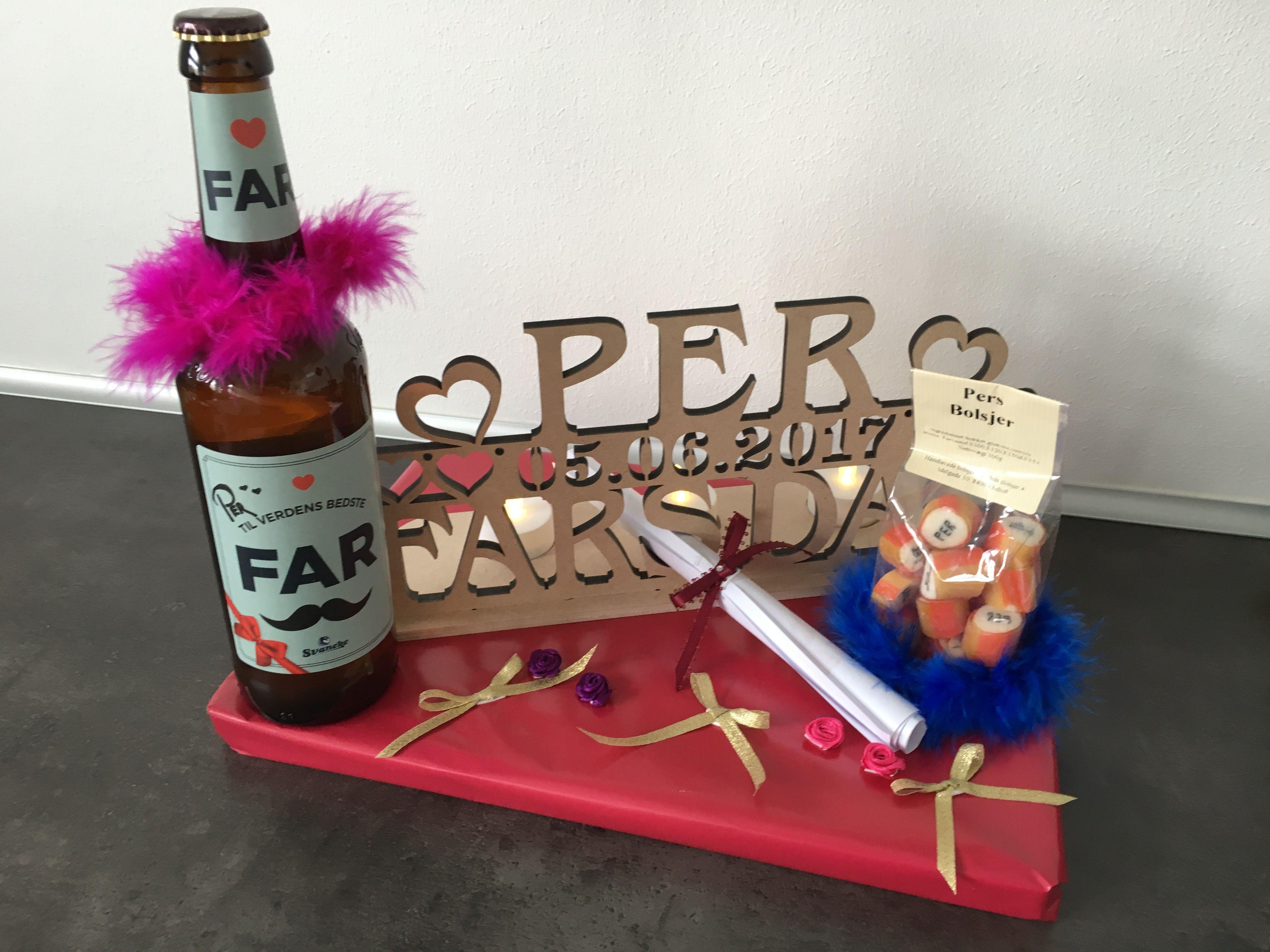 Fars dags gave med personlig lysestage, øl og bolsjer