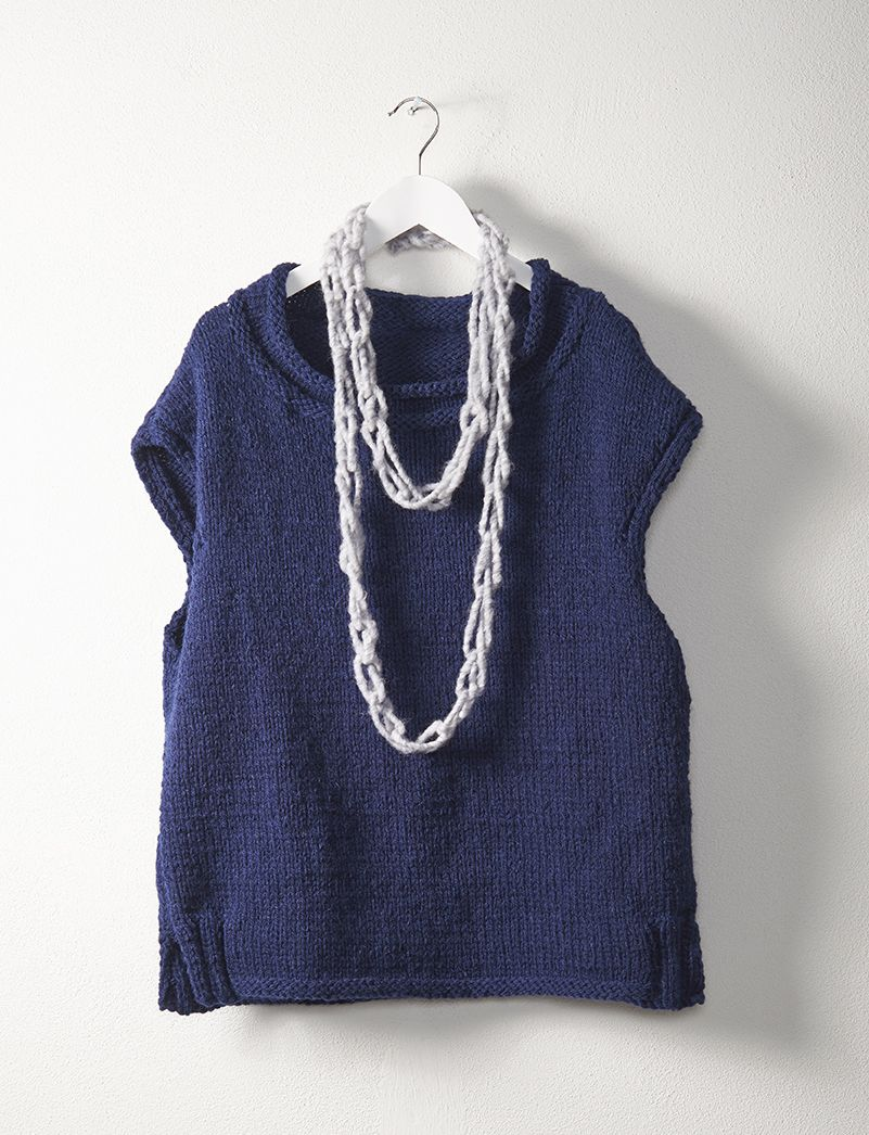 easy sleeveless sweater knitted by Patons Australia