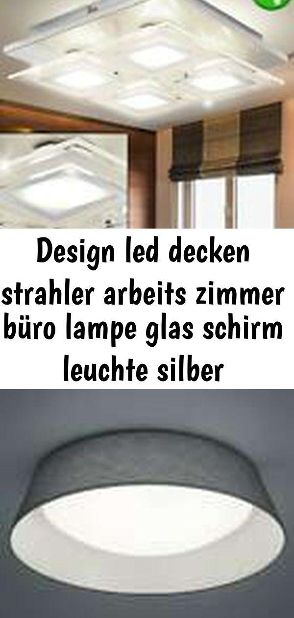Design Led Decken Strahler Arbeits Zimmer Buro Lampe Glas Schirm Leuchte Silber Beleuchtung 2 Decor Home Decor Lamp