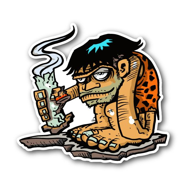 Stone age stoner man holding bong sticker vinyl stickers marijuana stickers clear stickers