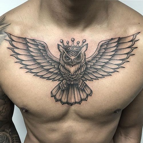 125 Best Owl Tattoos For Men Cool Chest Tattoos Mens Owl Tattoo Owl Tattoo Chest
