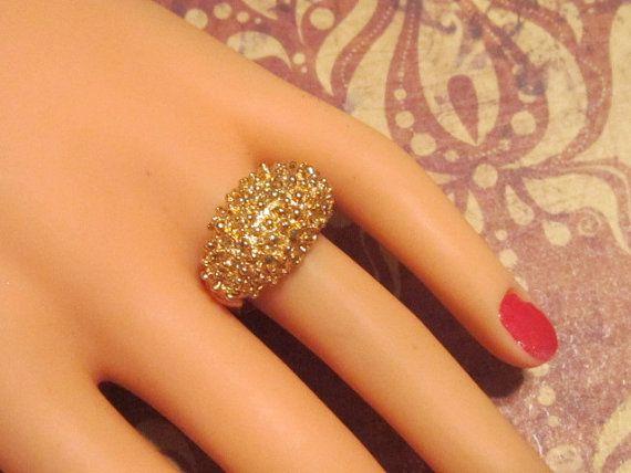 Vintage Gold Bumpy Ring - Size Adjustable - R-412