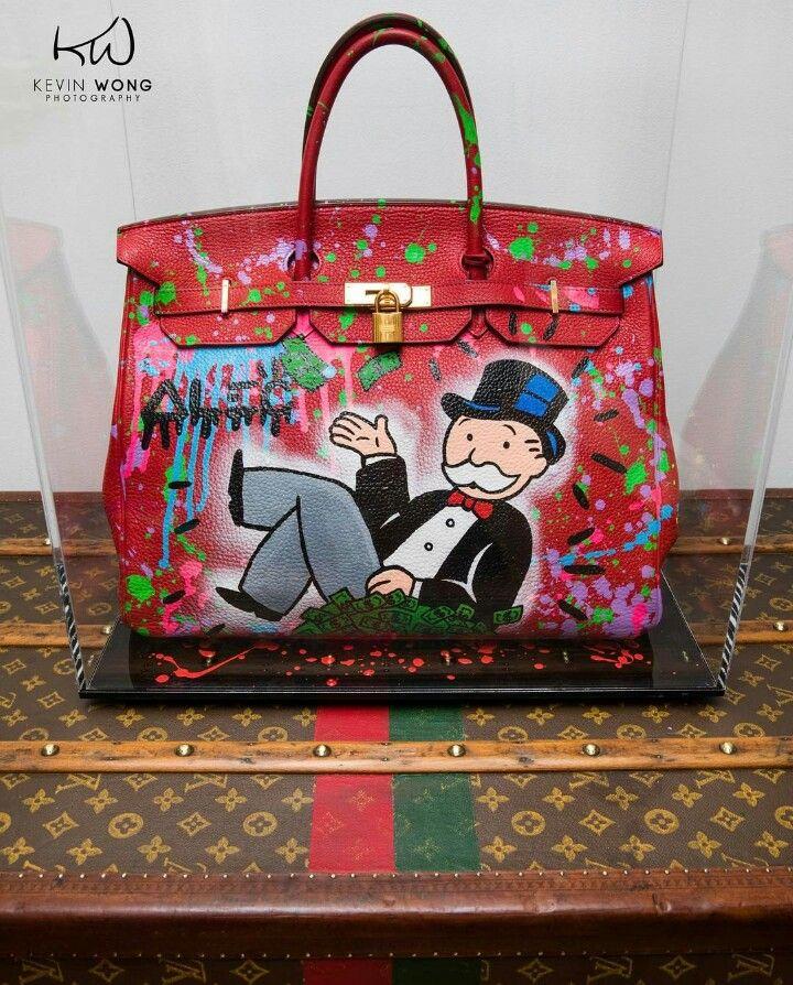 c4bfbc60b111 Alec Monopoly hand painted Hermès Birkin Bag