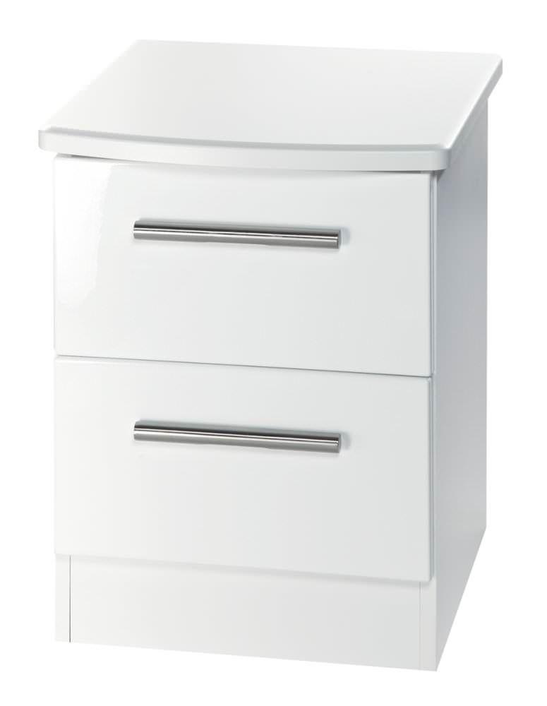 Knightsbridge White Bedside Cabinet 2 Drawer