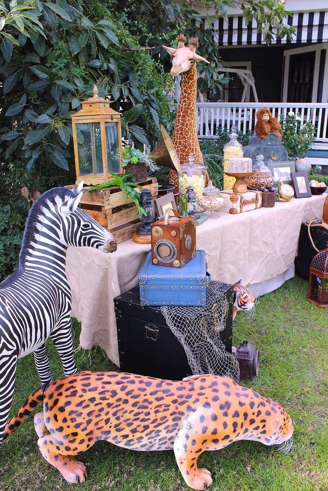 Wild decorations at a jungle safari birthday party! See more party ideas at CatchMyParty.com!