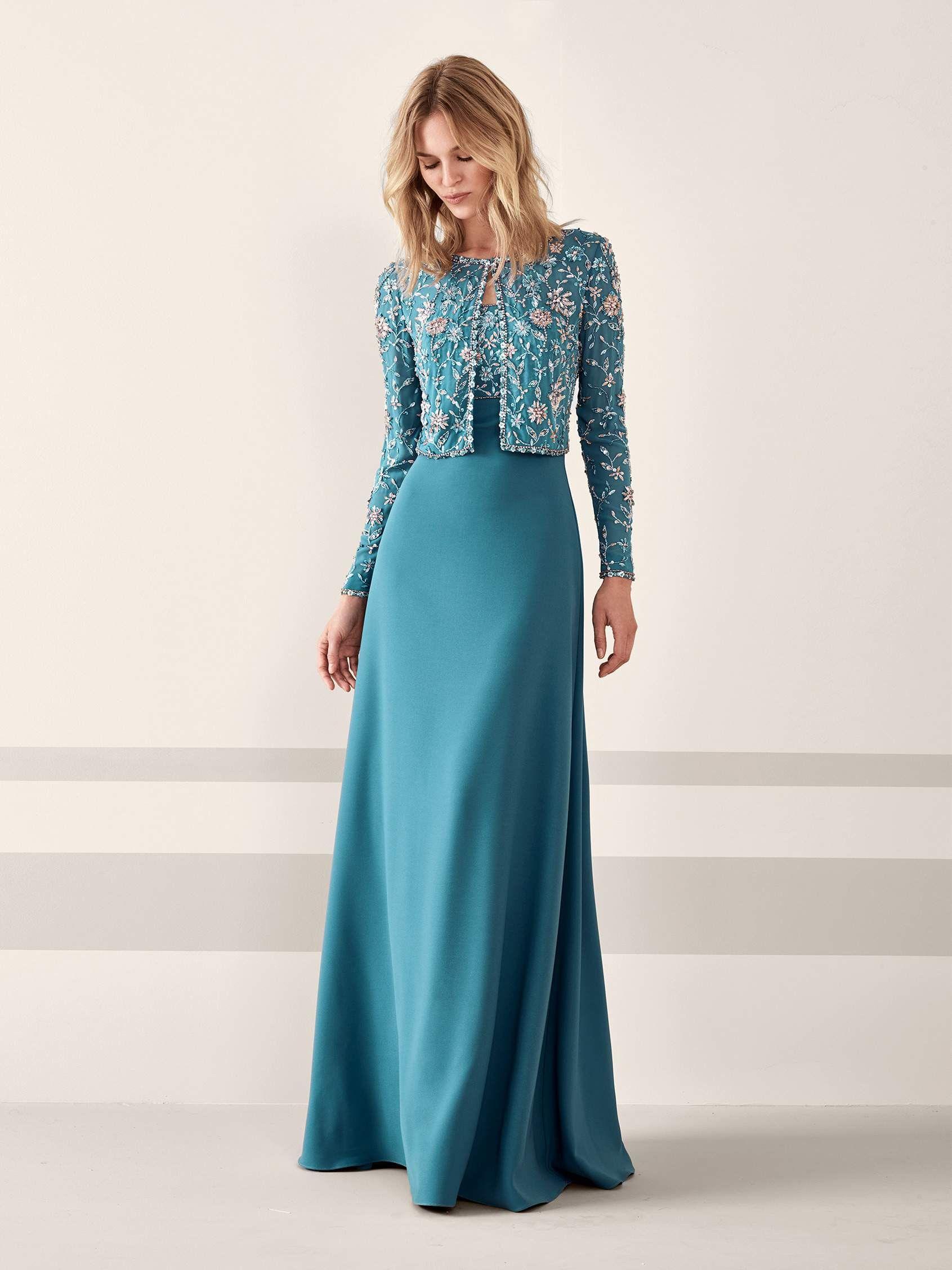 JEMILA: Elegante vestido de fiesta en crepe con falda evasé de talle ...