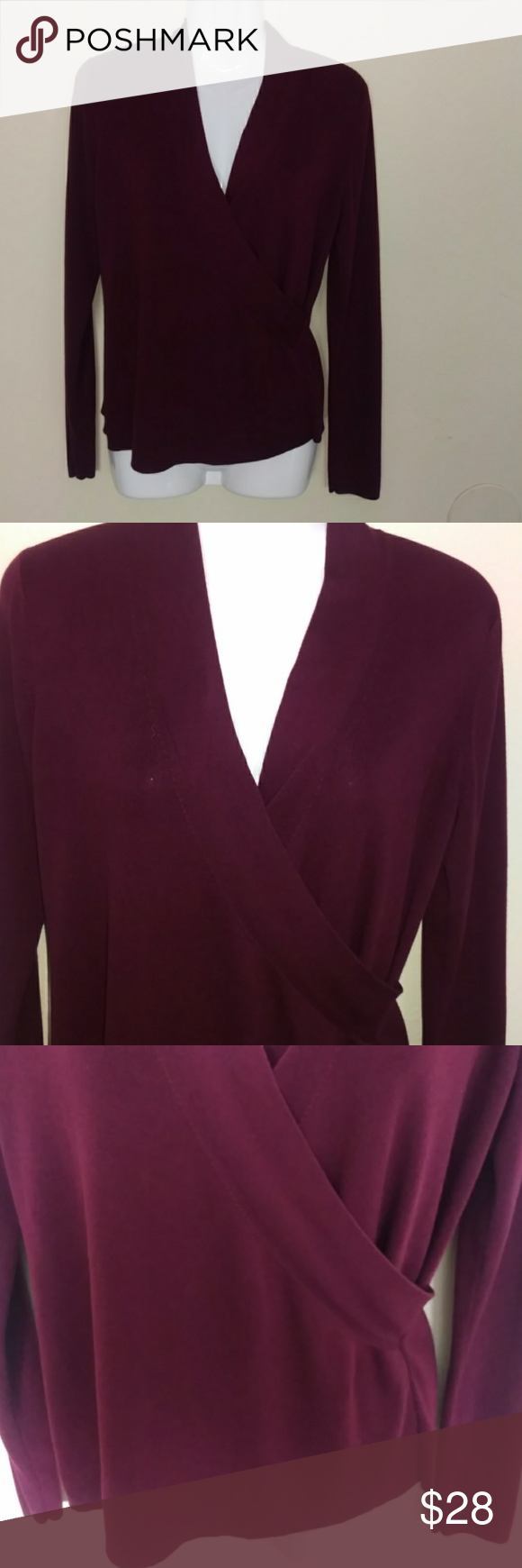 Ann Taylor burgundy wrap sweater top/blouse | Wraps and Customer ...