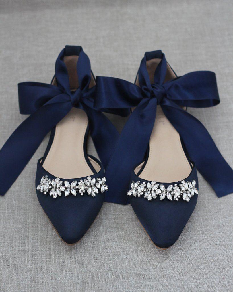 Navy Blue Satin Pointy Toe Flats with
