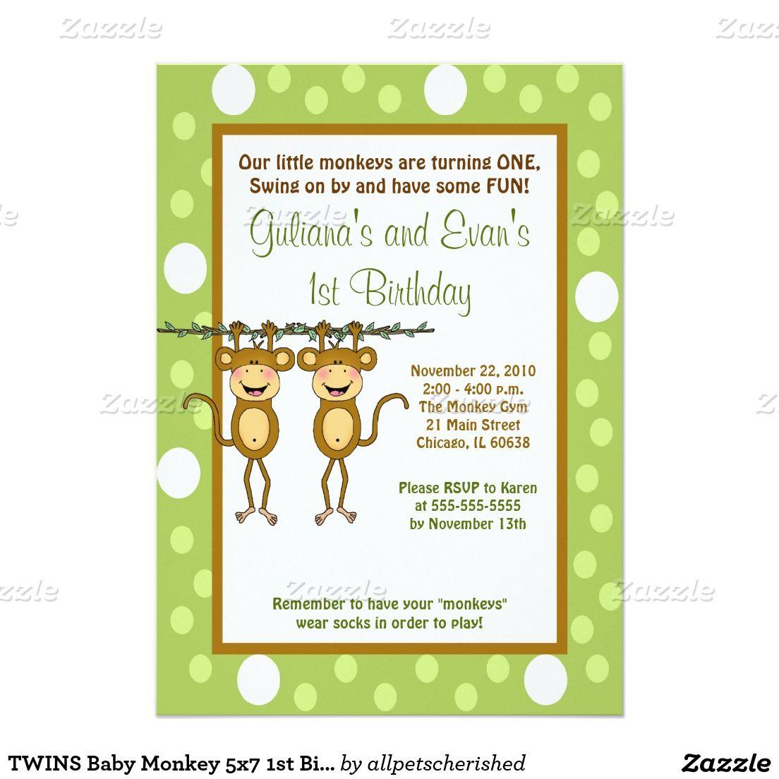 TWINS Baby Monkey 5x7 1st Birthday Invitation | 1st Bday Ideas ...